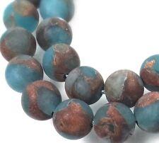 8mm Aquamarine in Quartz with Pyrite / Gold Vein Frost Matte Round Beads (24)