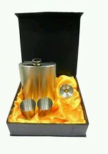 Hip flask 8 oz with 2 shot glasses and funnel gift set