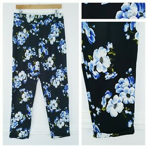 ❤️NEW LOOK black floral textured trousers size 12-14 1383