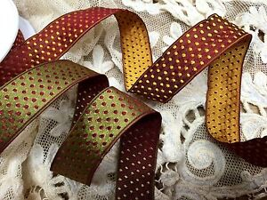 """Vintage Ribbon 1"""" Rayon Wired Reversible Polka Dots 1yd Made in France"""