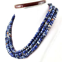 785.00 Cts Natural 3 Strand Untreated Blue Sodalite Round Beads Necklace (DG)