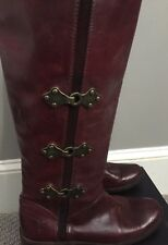 Burgundy knee high boots  with buckles by Frye sz 7.5 B