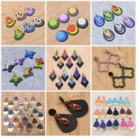 54 Styles Women Geometric Wooden Pendant Earrings Drop Stud Long Dangle Gift