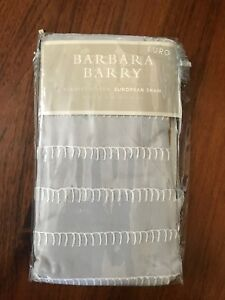 Set of Two Barbara Barry Ascot Blanket Stitch Pillow Shams In Slate