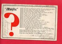 MAYBE QUESTION MARK POEM 1909 BERTHA BENN CANTON OHIO LEWIS AKRON OH  POSTCARD
