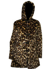 Spotted Leopard Skin Cat Fluffy Furry 3/4 Long Hooded Pockets Coat Jacket