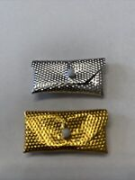 Two vintage 1960's Barbie Doll Gold & Silver Clutch Purses