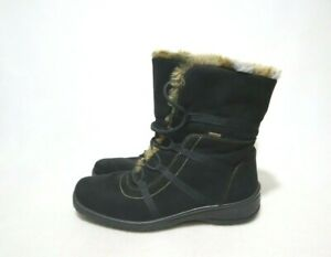 ara GORE-TEX Size 9.5 Womens Soft Leather Part Lining Fur High Top Lace Up Boots
