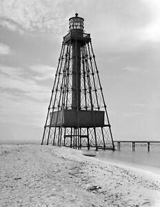 "Sand Key Lighthouse, Key West, Florida Vintage Old Photo 8.5"" x 11"" Reprint"