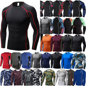 Men Compression T-Shirt Under Base Layer Sports Shirts Long Sleeve Fiitness Tops