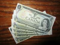 Canada Crisp 1-dollar bills GEMS!