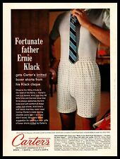 1961 Carter's Knit Boxers Dad Standing in His Underwear Trying On A Tie Print Ad