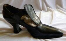 Vintage 1910s Black Leather Shoes Heels Edwardian Size 6 1/2
