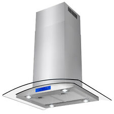 "30"" Stainless Steel Island Mount Range Hood with Tempered Glass Touch Panel"