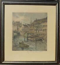 WindowsPE. Axel Möller 1862-1958 barche nel porto città di Copenaghen/Aquatinta acquaforte