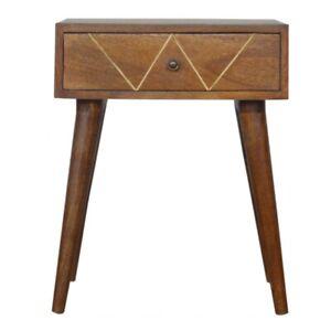 Solid Dark Mango Wood Bedside Table Geometric Brass Inlay Handmade Furniture