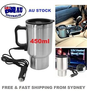 12V Car Electric Kettle Heating Cup 450ml Coffee Mug Maker Pot Stainless Steel