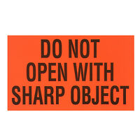 "DO NOT OPEN WITH SHARP OBJECT Orange  3""x5"" 20 count labels stickers sticker"