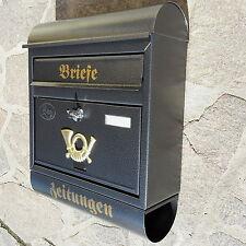XXL Briefkasten Postkasten Anthrazit+Zeitungsrolle Wandmontage Nostalgie Metall