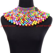 Fashion Jewelry Chain CCB Resin Pearl Charm Choker Chunky Statement Bib Necklace