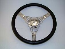 553BLK Stainless steel black leather wrap banjo steering wheel. V8 horn