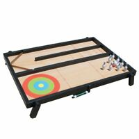 4 in 1 Tabletop Multi Board Game Set Table Tennis Bowling Shuffleboard Curling