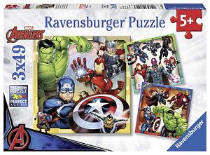 NEW Ravensburger Marvel Avengers Assemble, 3x 49pc Jigsaw Puzzles