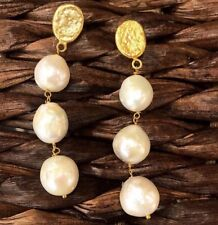 Brand New Gorgeous Baroque Look Pearl & 18k Gold Plated Earrings