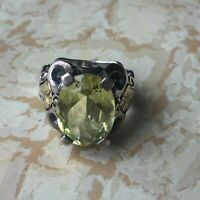 ANN KING STERLING SILVER AND 18K YELLOW GOLD 9 Ct LiMON QUARTZ RING Size 7
