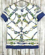 Barbara Gerwit Nautical Chain Print Top Short Sleeve Blue Green White S Small