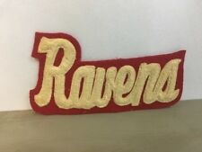"""Vintage Ravens Letter Patch 7"""" Jacket Mascot High School Red Cream Stitched"""