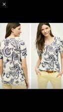 EUC Cute Anthropologie Meadow Rue Navy & White Top Shirt Size M