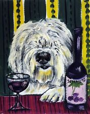OLD ENGLISH SHEEPDOG at the WINE BAR picture giclee 13x19 DOG art PRINT abstract