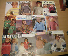 "13 Assorted Childrens Knitting Patterns 20"" Chest Upwards"