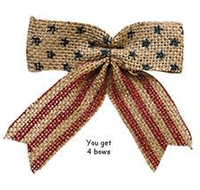 "Set of 4 -- Americana Burlap Bows ... 4-1/2"" wide x 4-1/2"" high"