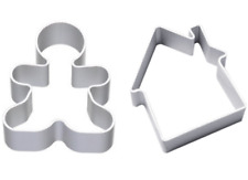House & Gingerbread Man Metal Cookie Cutter Biscuit Pastry Cake Bake 2pcs Set