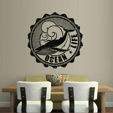 Wall Decal Whale Sperm Whale Water Sea Ocean Fish Circle Life Inscription M318