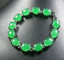Gold Plate CHINESE Green JADE Cabochon Bead Beads Bangle Bracelet 246982 US