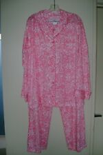 New No Tag's Vtg I Magnin Coral & White Abstract Cotton Lounge Pajamas Large