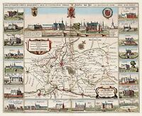 MAP ANTIQUE 1664 DU PLOUICH YPRES CASTLES PICTORIAL REPLICA POSTER PRINT PAM0164