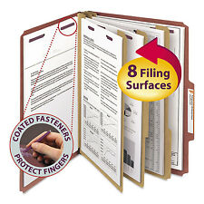 Smead Pressboard Classification Folders Self Tab Letter Eight-Section Red 10/Box