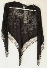 Alex Evenings Women's Black Beaded Sheer Shawl NWT