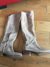 ZARA Suede Over The Knee Beige Tan Flat Boots 37/4 NEW