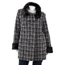 NWT $220 Apt 9 Womens Black Plaid Faux Fur Boucle Wool Peacoat Coats Jackets M