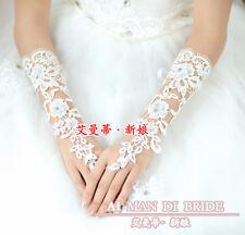 Victoria Flower Lace Rhinestone Bridal Elbow Gloves Wedding Braid Veils, AMD423