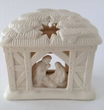 PartyLite Nativity O Holy Night Tea Light Candle Holder Manger Family Bisque EUC