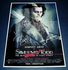 SWEENEY TODD CAST x4 PP SIGNED MOVIE POSTER 12X8 DEPP