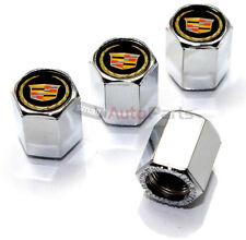 (4) Cadillac New Style Gold Logo Chrome ABS Tire/Wheel Stem air Valve Caps set