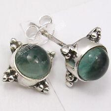 "925 Sterling Silver Genuine APATITE Stone VINTAGE STYLE Studs Earrings 0.5"""