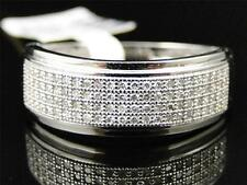 Mens 10K White Gold Genuine Diamond Pave Wedding Engagement Band Ring